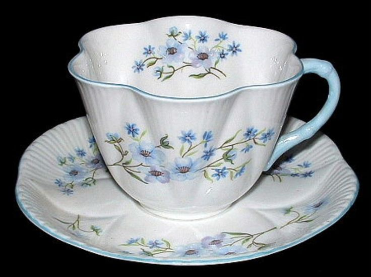 Shelley China Dainty Shape Blue Rock Cup and Saucer England Bone China