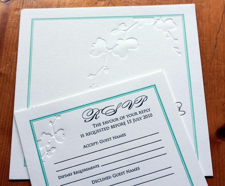 2 colour Letterpress wedding invitation - Watermarx Graphics www.watermarx.net