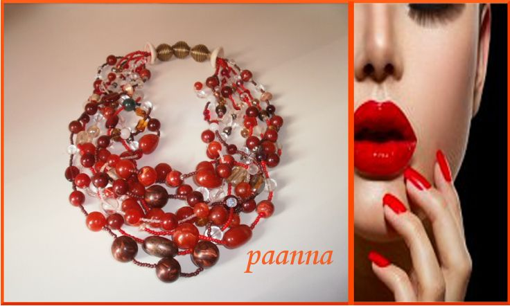 Collana Red by Paanna su DaWanda.com. Collana multifili. Statement necklace. Collana maxi. Collana di perle. Necklace beads glass. African necklace. Collana stile africano. Red statement necklace. Collana rossa maxi.