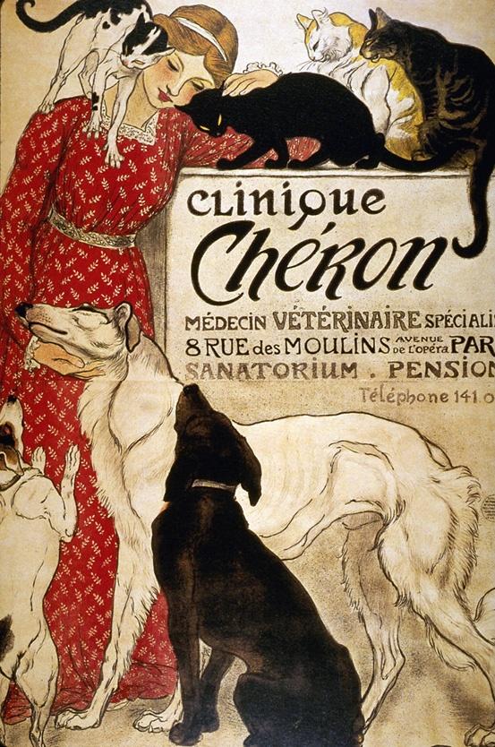 French poster   Art Nouveau   Affiche publicitaire Clinique vétérinaire