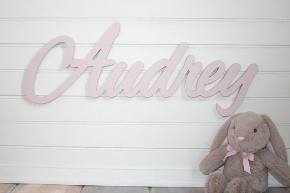 children's name sign Name Plaque Large PAINTED photo prop Personalized baby name wall hanging nursery decor wooden wall art above a crib on Etsy, $45.00