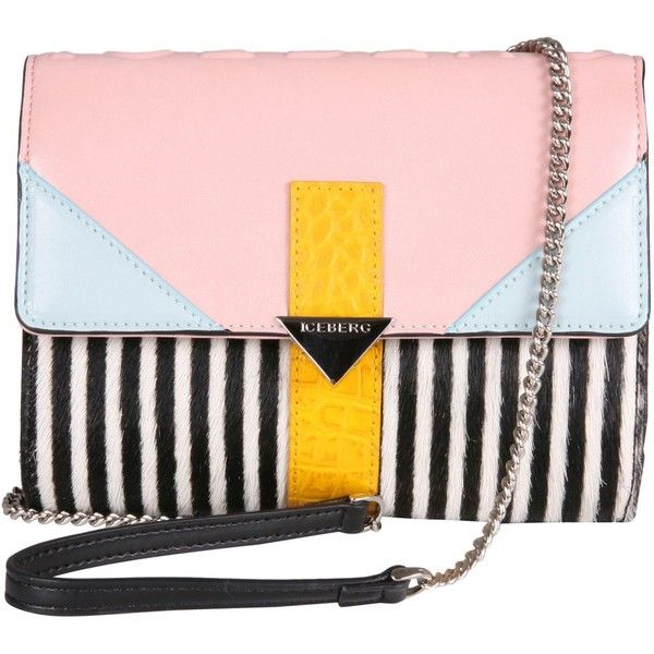 Iceberg Bags (6 675 UAH) ❤ liked on Polyvore featuring bags, handbags, shoulder bags, multicolor, pink leather purse, pink handbags, chain shoulder bag, striped handbag and multi colored leather handbags