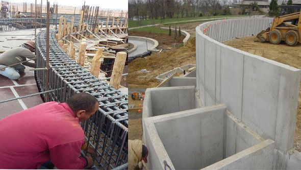 Construction Process Of A Curved Concrete Retaining Wall Retaining Wall Construction Concrete Retaining Walls Concrete Block Walls