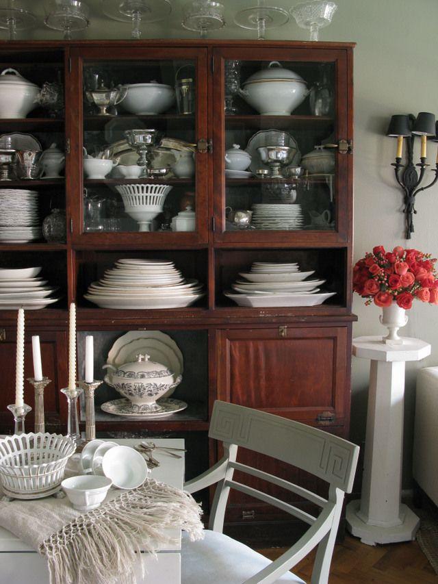 China Cabinet Plates And Server Ware Arrangement White DishesChina CabinetsVignettesDining Room HutchKitchen