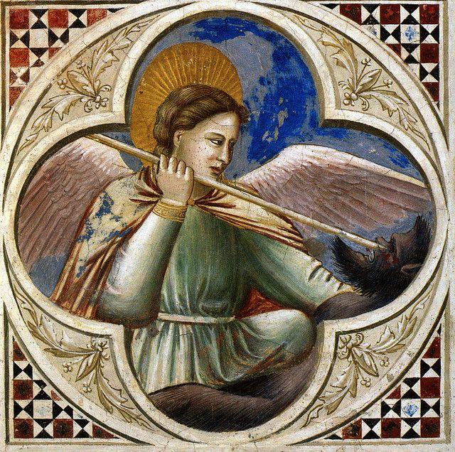 Giotto e bottega - San Michele arcangelo e il drago. Padova, Cappella degli Scrovegni, navata, parete nord