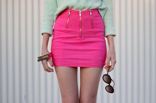 .Fashion, Mint Green, Minis Skirts, Style, Clothing, Pink Skirts, Hot Pink, Pencil Skirts, Summer Colors