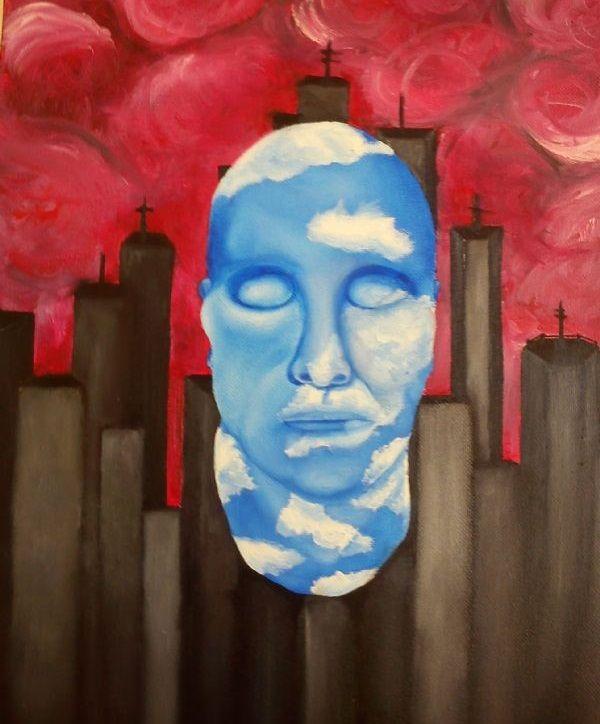 Matteo Chiarello.  Visione Utopistica (2012). Olio su tela