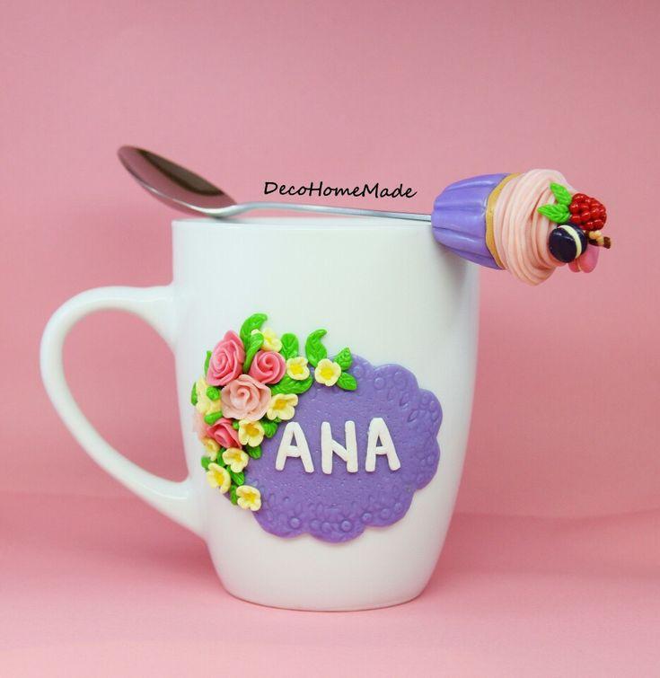 Polymer Clay mug & spoon - flowers & cupcake / handmade