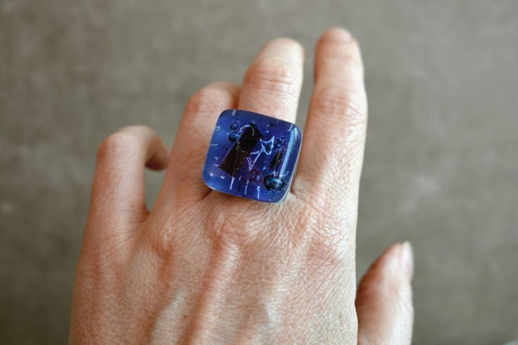 Cat ring, Fused glass ring, Adjustable ring, Cobalt Blue ring, Glass ring, Cat jewelry, Fused Glass Jewelry, Kiln formed glass, Square ring by BGLASSbcn on Etsy