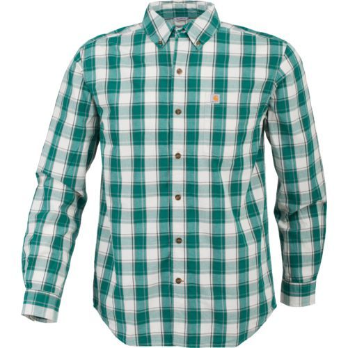 Carhartt Men's Essential Plaid Button Down Long Sleeve Shirt (Green, Size Large) - Men's Work Apparel, Men's Longsleeve Work Shirts at Academy Sports