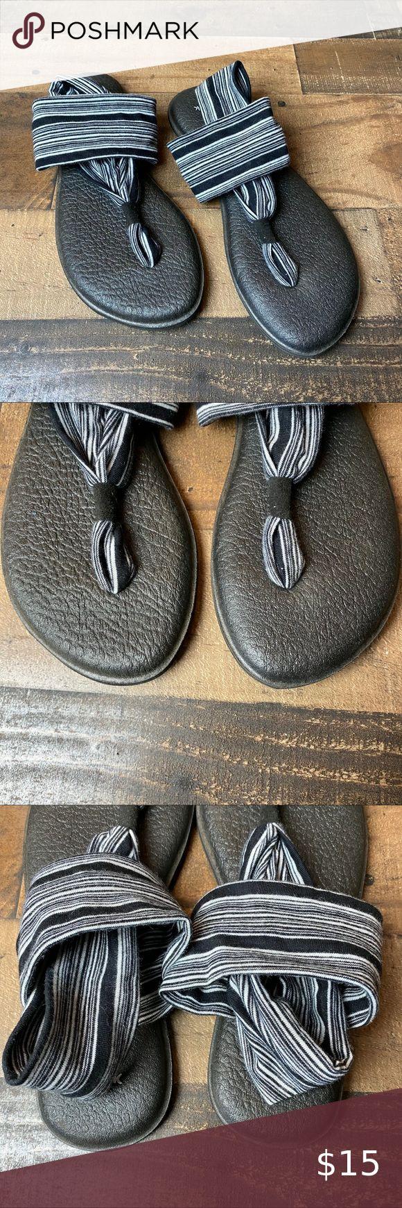 Predownload: Sanuk Yoga Sling 2 Black White Striped Sandals In 2020 Striped Sandals Sanuk Sanuk Yoga Sling [ 1740 x 580 Pixel ]