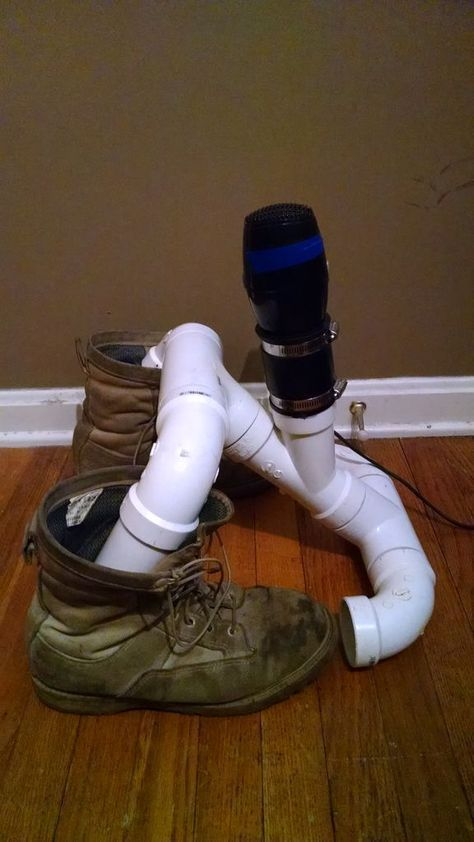 cheap DIY boot dryer with parts from a leftover plumbing project