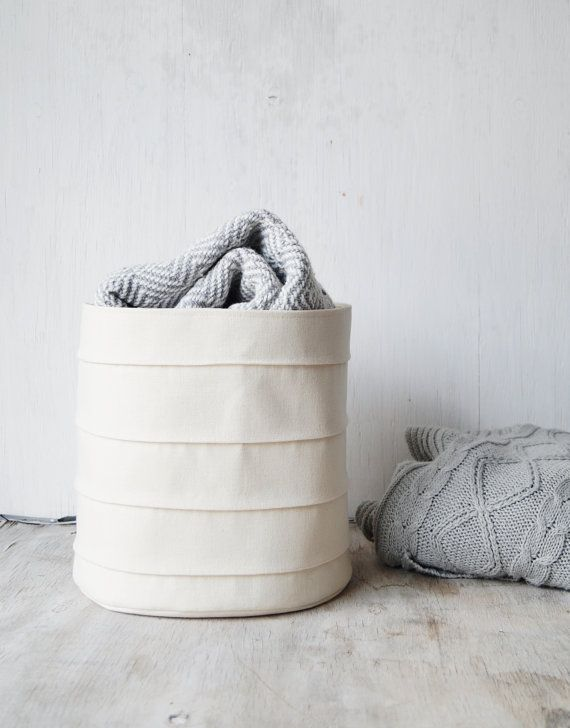 Laundry hamper. Toy storage basket. Bucket. Canvas storage bin. Nursery hamper. Bathroom storage. Baby hamper. White nursery decor