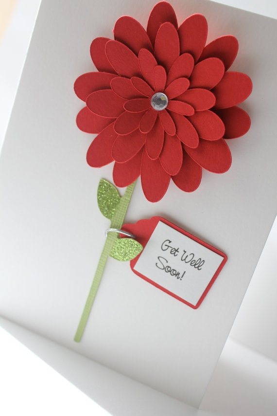 Personalize  Get Well Soon Card  Cherry Red by CraftedbyLizC, $4.25