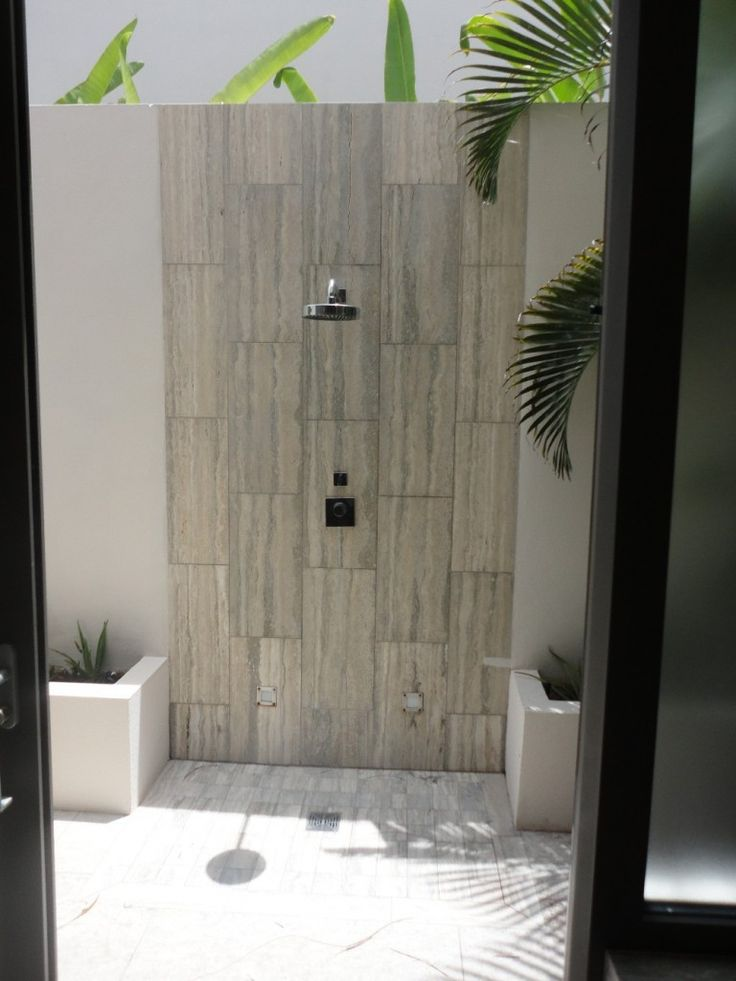 love this silver travertine for a shower