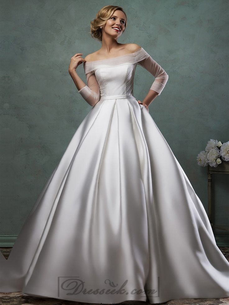 Off the Shoulder Three Quarter Sleeves A-line Wedding Dress