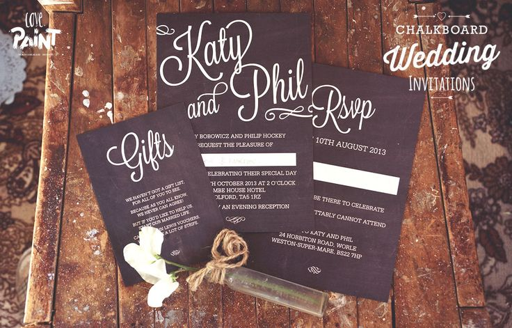 Chalkboard Wedding Invitations and Stationary. Love Paint UK | Handmade Home Decor