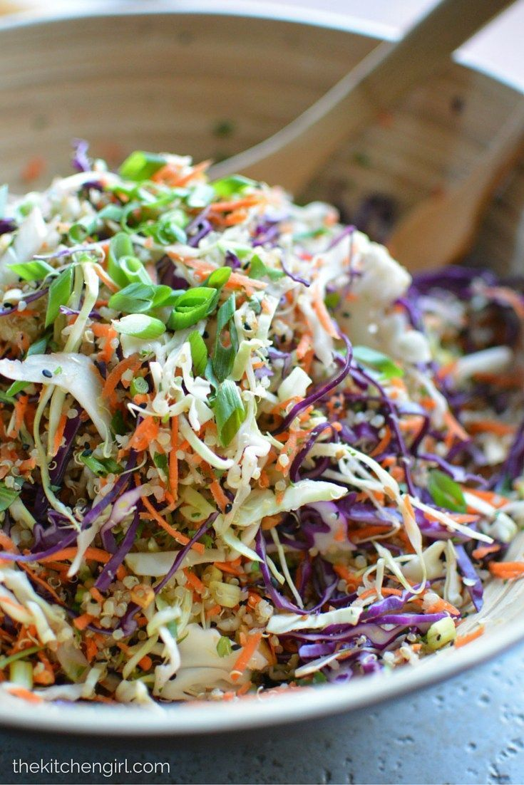 Asian Quinoa Slaw Salad is clean-eating, Asian-style, vegetables and protein-packed quinoa. Meal prep it for the busy week. Add chicken, pork, or other veggies. GF/Vegetarian. http://thekitchengirl.com