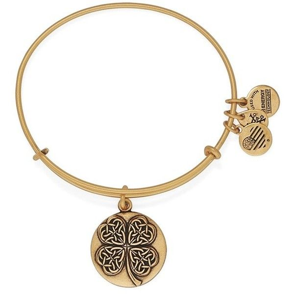 Alex and Ani 'Four Leaf Clover' Bangle Bracelet (39 CAD) ❤ liked on Polyvore featuring jewelry, bracelets, gold, clover charm, bangle bracelet, hinged bracelet, adjustable bangle bracelet and alex and ani jewelry