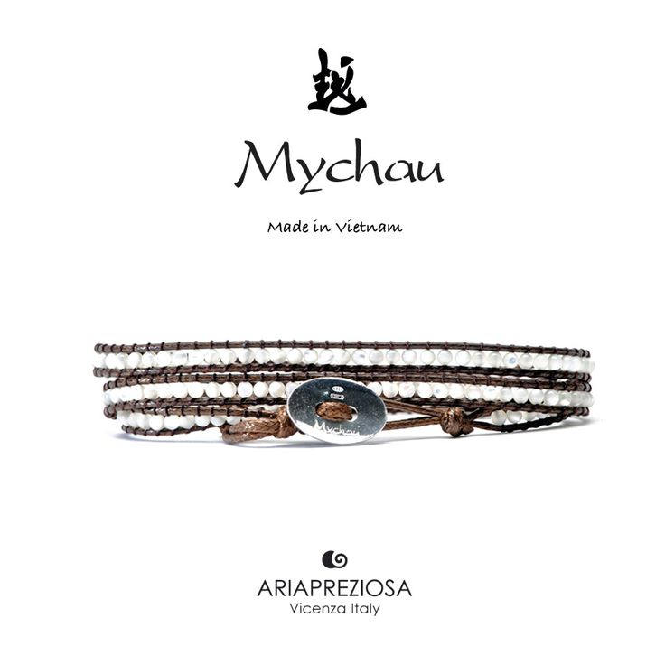 """Mychau - Bracciale Vietnam """"Manh Mai (slim)"""" originale realizzato con pietre naturali calibro 2mm Madreperla su base bracciale col. Testa di Moro"""