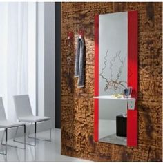 #specchio ingresso laccato con mensola in pelle colorata #design #arredamento #madeinitaly