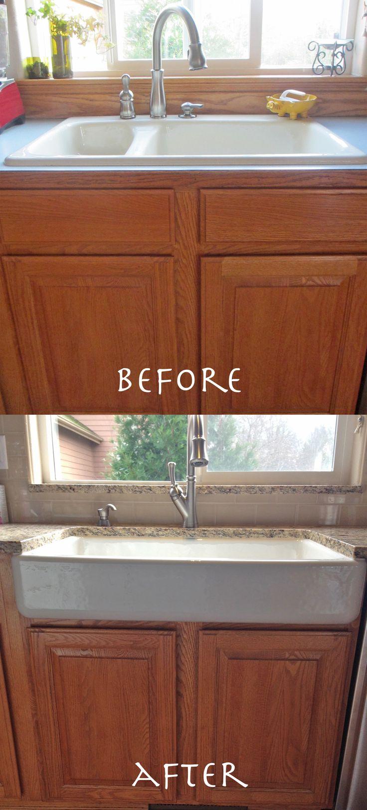 Apron Front Sink Retrofit A Standard Cabinet Kohler Whitehaven Self Trimming Sink Apron