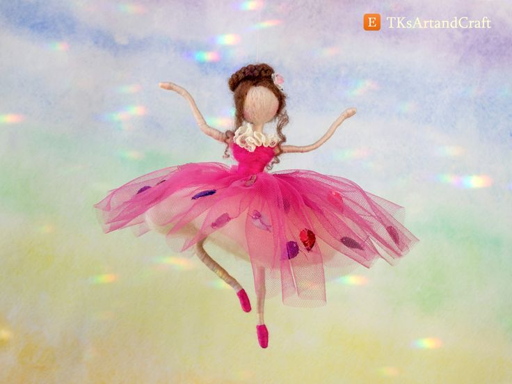 Charming Needle Felted Doll - Ballet Dancer in Pink Tutu