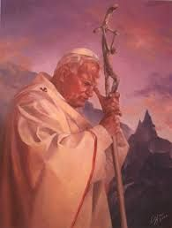 """Happy Feast Day of ST POPE JOHN PAUL THE GREAT! October 22 Priest, Theologian, Philiosopher, Author, Bishop #pinterest """"Everyone knows John Paul II: his face, his characteristic way of moving and speaking; his immersion in prayer and his spontaneous cheerfulness. Many of his words have become indelibly engraved in our memories, starting with the passionate cry with which he introduced himself to the people at the beginning 