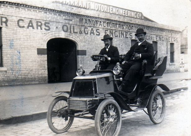 First successful petrol driven Tarrant, built 1898, sold to DW Chandler in 1899. Top speed circa 30/35 mph. Only one of the 16 Tarrants built exists, owned by the Royal Automobile Club of Victoria