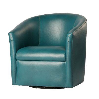 Draper swivel barrel dark teal accent chair by comfort - Dark teal accent chair ...