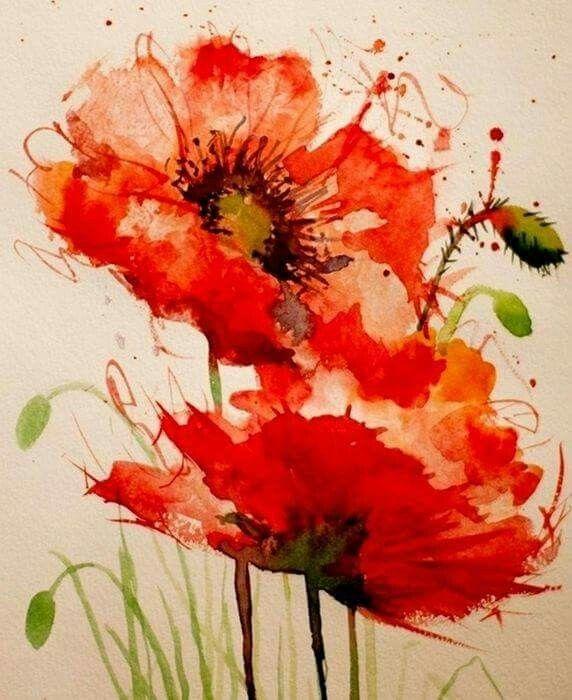 Flores, amapolas, acuarela. Maria Soledad.  Red poppies watercolor painting floral art.  Watercolor splash tattoo art idea.