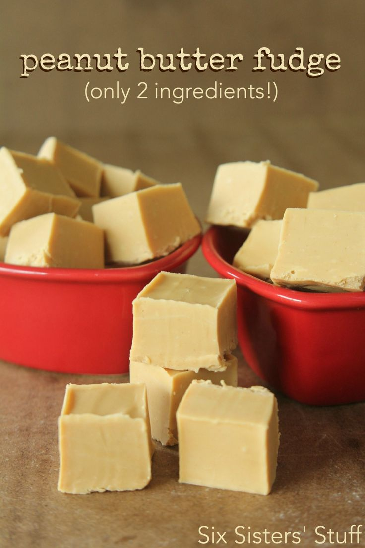 Two Ingredient Peanut Butter Fudge Recipe on SixSistersStuff.com- this is so easy to throw together!