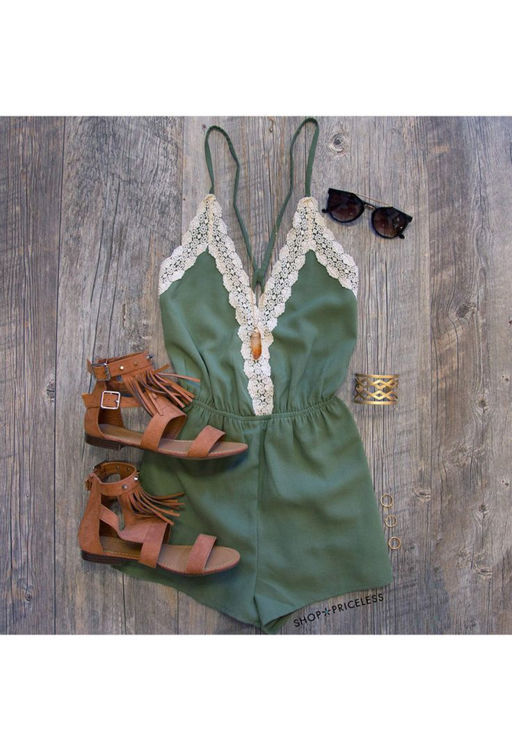 Love Quest Lace Romper - Olive