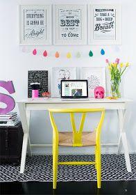 Decoração colorida e criativa, home office.