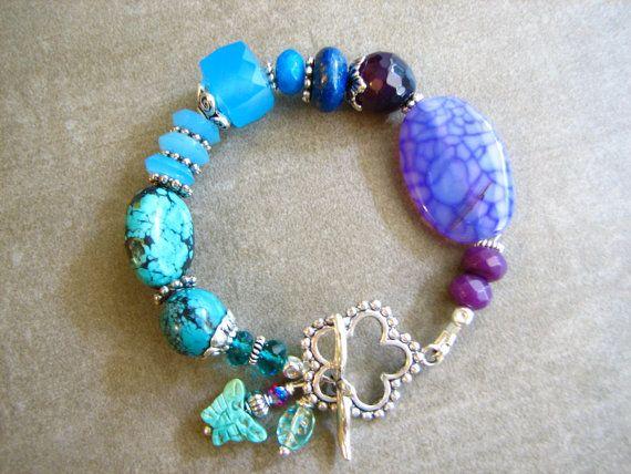 Wildflower Gemstone Bracelet With Chalcedony by BeYouBeautiful, $55.00