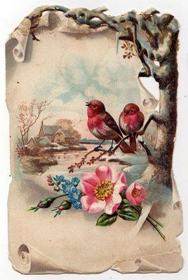 snow roses love the birds and the vintage feel / look of this piece