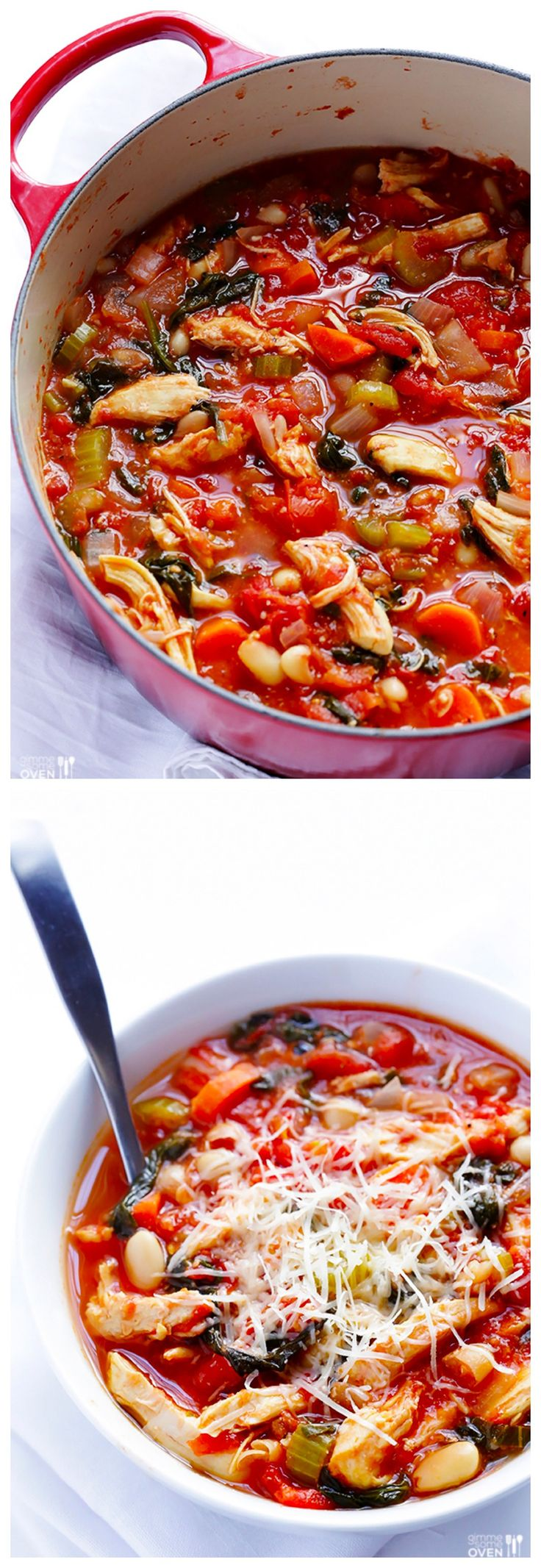 Tomato Basil Chicken Stew -- comforting, simple, and ready in under 30 minutes | gimmesomeoven.com #soup #recipe