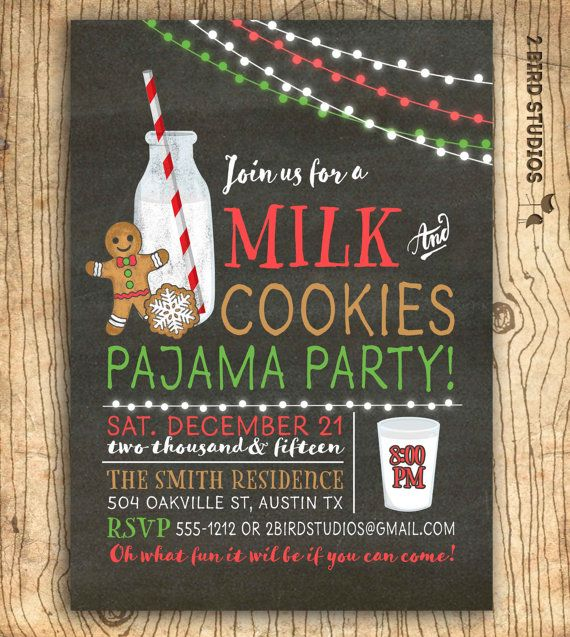 Pajama Christmas Party Ideas Part - 20: Milk And Cookies Invitation - Christmas Cookies Exchange Invitation-  Cookies U0026 Milk Birthday Party Invite - Milk And Cookies Pajama Party