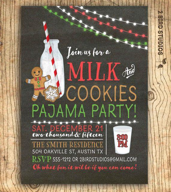 Milk and cookies invitation Christmas cookies by 2birdstudios