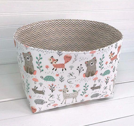 Woodland Storage Bin Woodland Nursery Storage Woodland Basket Woodland Bin Fox Storage Basket Animals Mint Be Fox Nursery Decor Nursery Storage Nursery Baskets