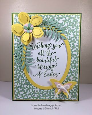 handmade Easter card ...Botanical Blooms .. yellow, mint and white .., framed sentiment ...