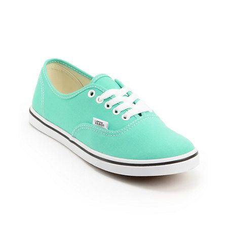 The Vans Girls Authentic Lo Pro mint leaf and white canvas shoes are a definite show stopper with any outfit. These low profile girls shoes feature a white vulcanized sole with black foxing, white metal lace loop eyelets for contrast, classic Vans waffle tread bottom, padded collar for comfort, and an eye-popping mint leaf canvas upper for a stand out look. Grab your favorite pair of jeans and the Vans Girls Authentic Lo Pro mint leaf and white canvas shoes for a perfect pair of party…