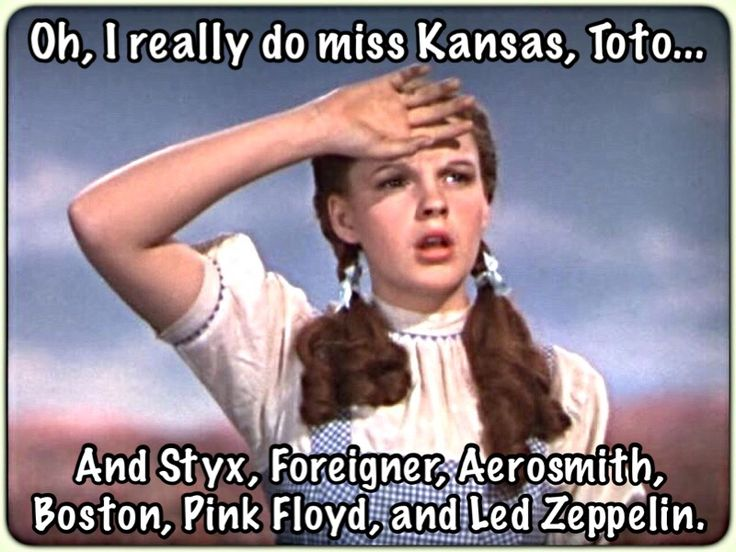 """Though Dorothy loves The Land of Oz, she sighs & says, """"Oh, I really do miss Kansas, Toto... and Styx, Foreigner, Aerosmith, Boston, Pink Floyd, &  Led Zeppelin.""""   (Personally, I don't miss Toto much though...)   🎶😎🎶"""