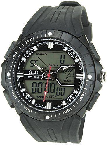 GIORGIO & DARIO -Montre Homme Noir Quartz Boitier Pvc -Digital Alarme-Chronomètre Water Resist 3ATM-30 Mètres Bracelet Silicone Noir:…