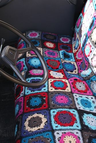 Crochet seat covers. No pattern but can use all kinds of squares together. Neat idea for car seat or chair/couch!