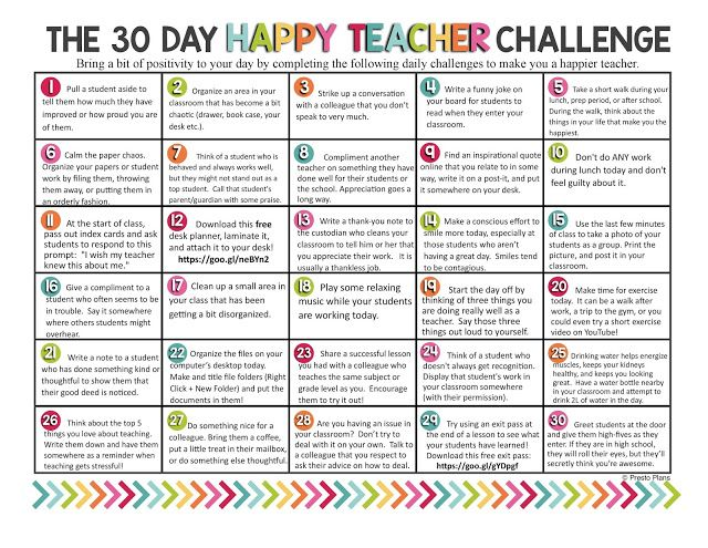 Presto Plans Blog: The 30 Day Happy Teacher Challenge