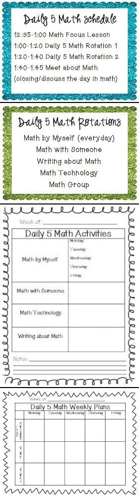 This site has information about setting up Daily 5 Math and some FREEBIES