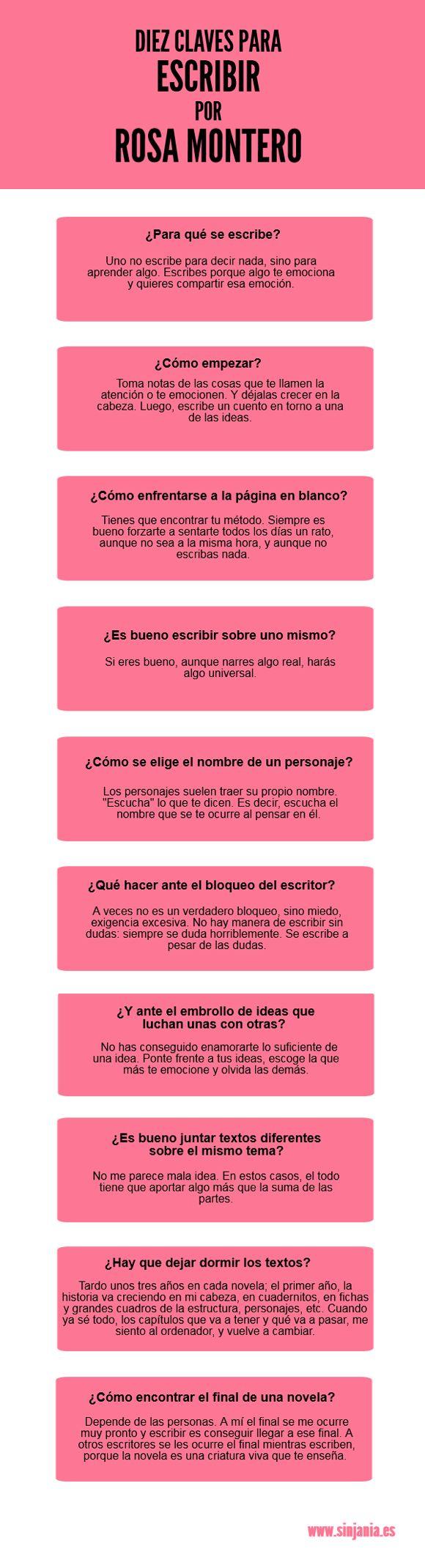 Diez claves imprescindibles para escribir de Rosa Montero.