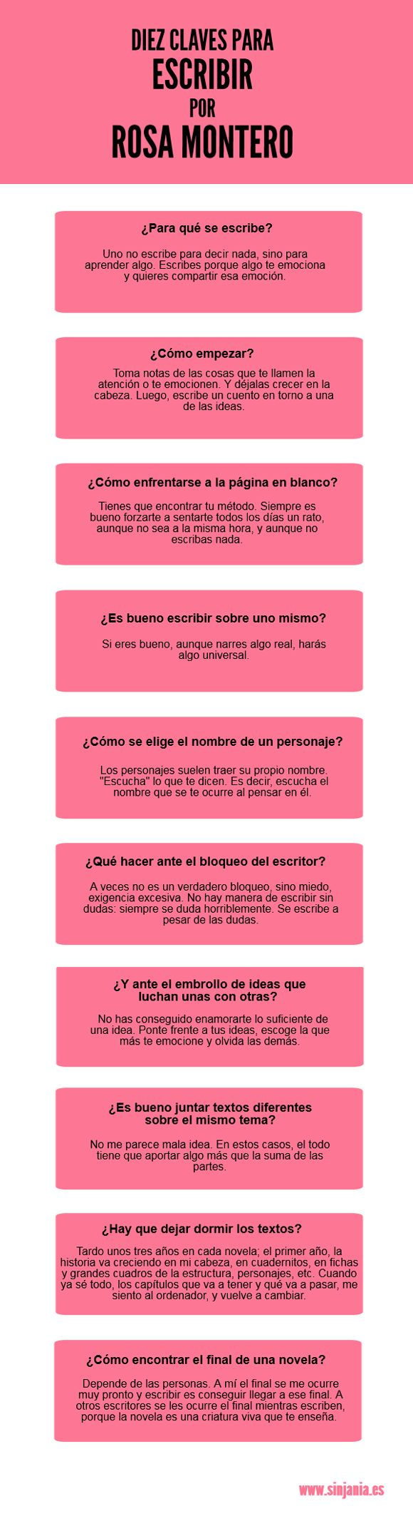 Diez claves para escribir, de Rosa Montero.
