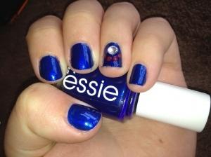 School Spirit Nails   Fresno State Paw Print :)  Millie did them